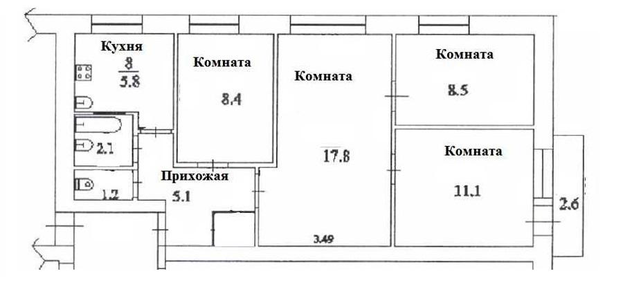 Схема расположения комнат в 4 комнатной хрущевке