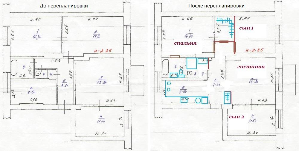 Схема перепланировки сталинки для семьи с детьми