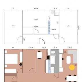 Вариант перепланировки старой трехкомнатной квартиры