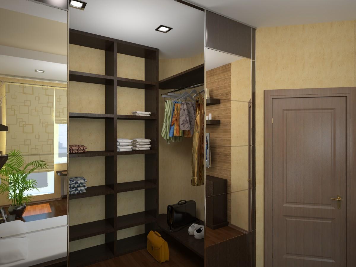 планировка гардеробной комнаты с зеркальными дверями