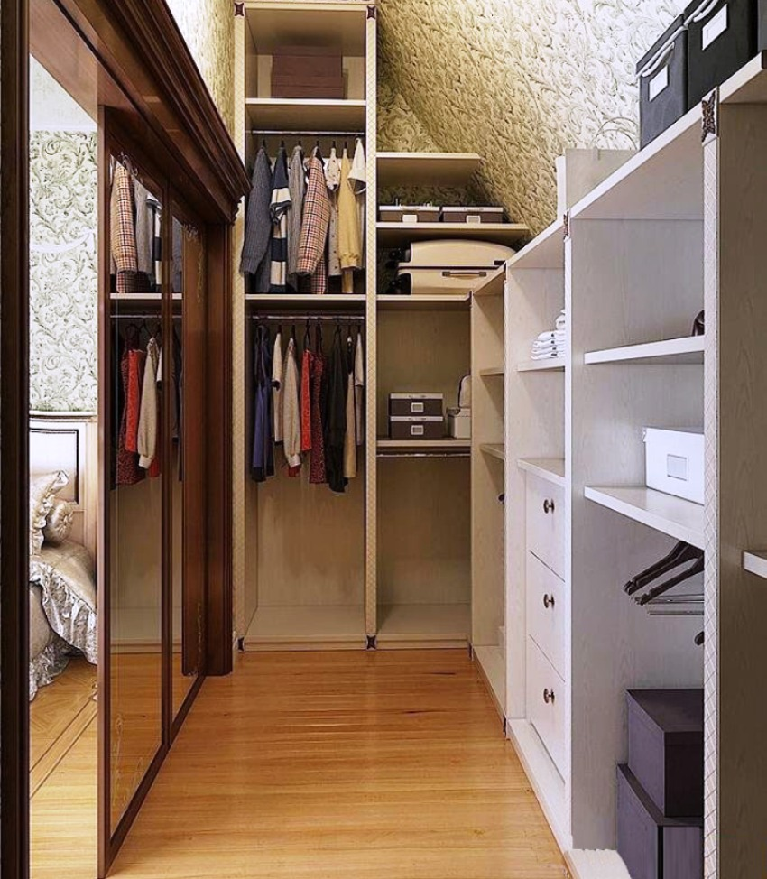 планировка гардеробной комнаты в спальне