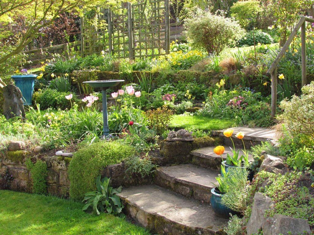 Каменная лестница в саду с неровностями