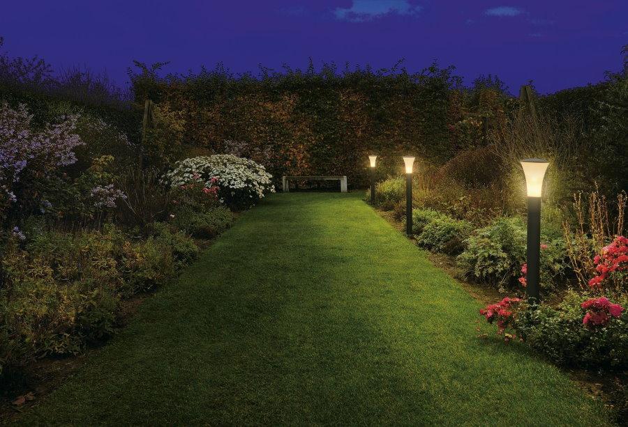 Освещение кустов вдоль газона на загородном участке