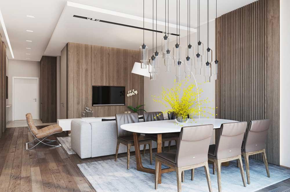 Зонирование гостиной-столовой подвесным потолком
