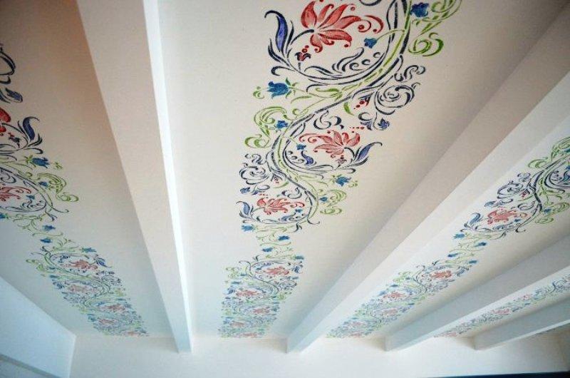 трафаретная роспись потолка в детской