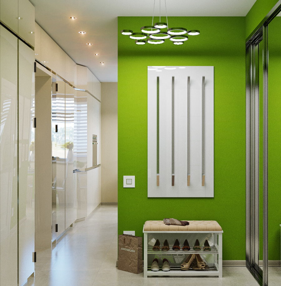 Ярко зеленая стена в современной прихожей