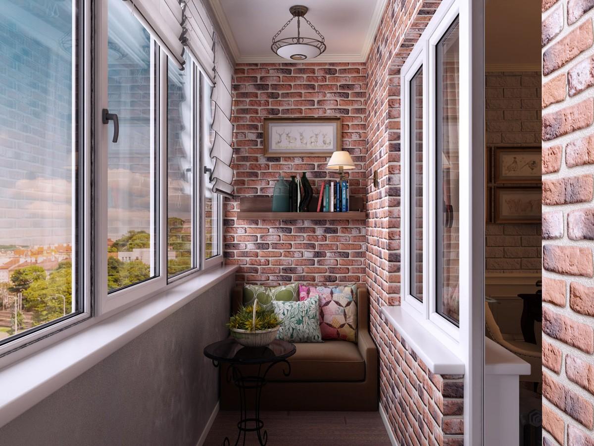 Отделка кирпичного балкона фото