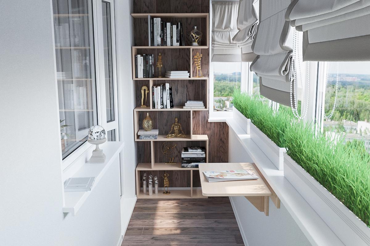 расширение балкона полки для книг