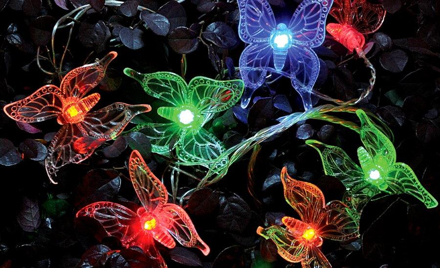 Садовая гирлянда в виде ночных мотыльков