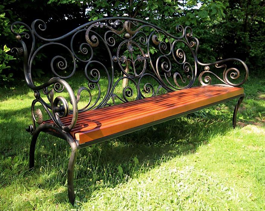 кованая садовая скамья