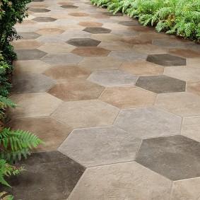 садовая плитка для дорожек шестиугольник