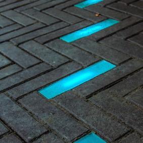 садовая плитка для дорожек с подсветкой дизайн