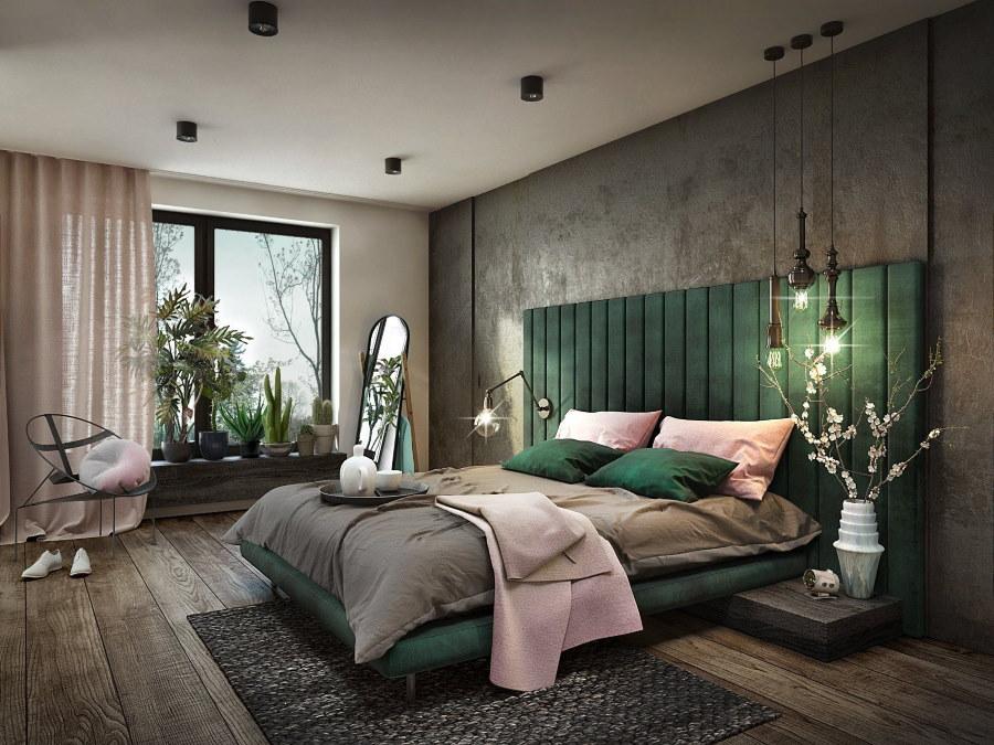 Темно-зеленое изголовье кровати в серой спальне