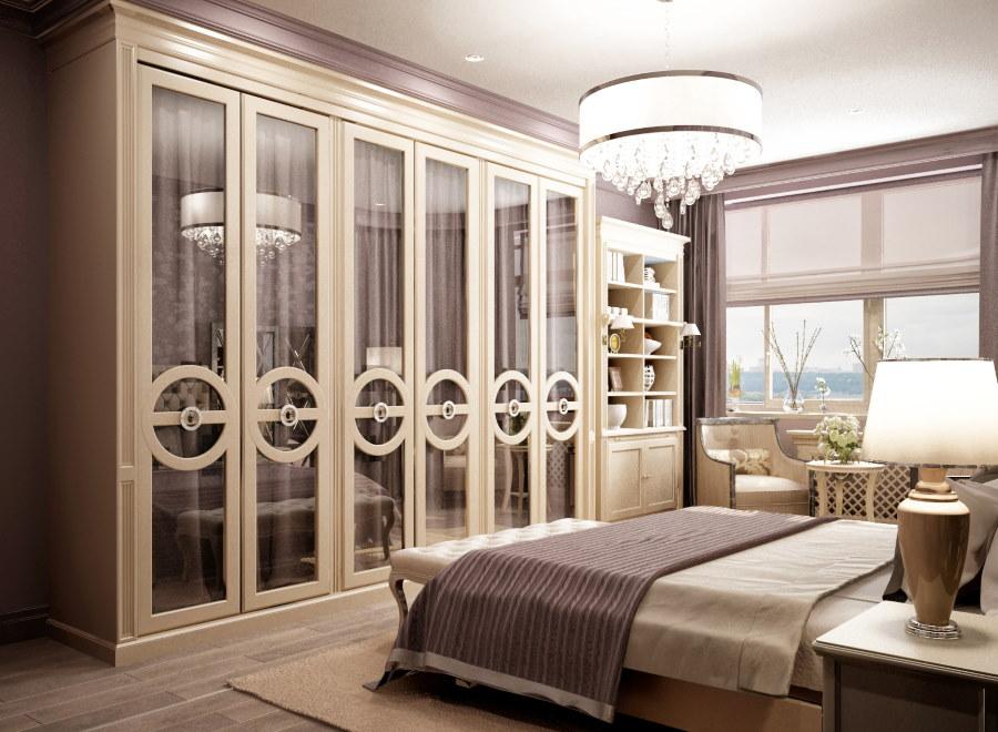 Гардеробный шкаф в спальне неоклассического стиля