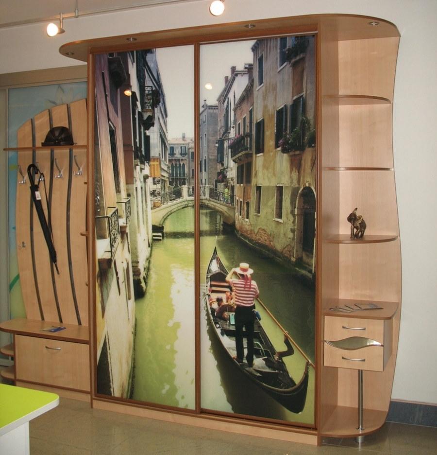 Шкаф-купе с фотопечатью в прихожей квартиры