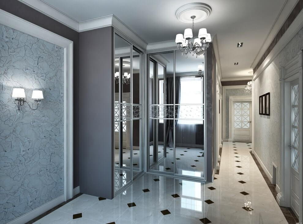 Г-образный шкаф-купе с зеркальными дверцами