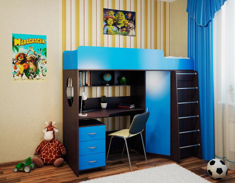 Кровать-чердак со столом и шкафом в комнате мальчика