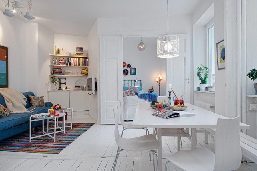 Скандинавский стиль в дизайне столовой-гостиной