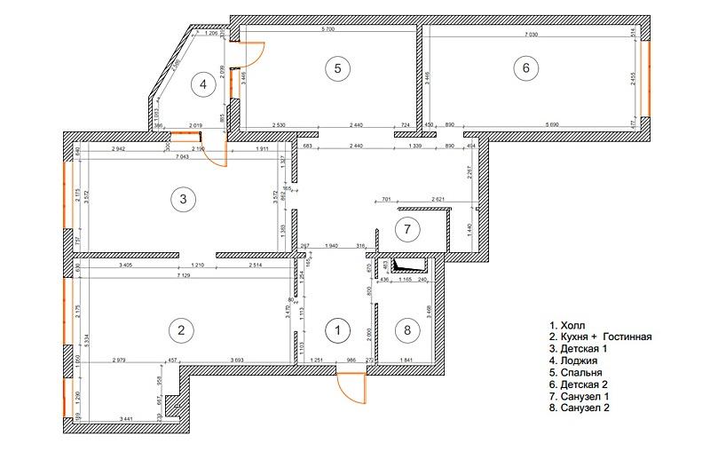 Планировка современной квартиры с четырьмя комнатами