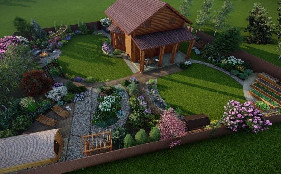 Проект участка в смешанном стиле оформления ландшафта