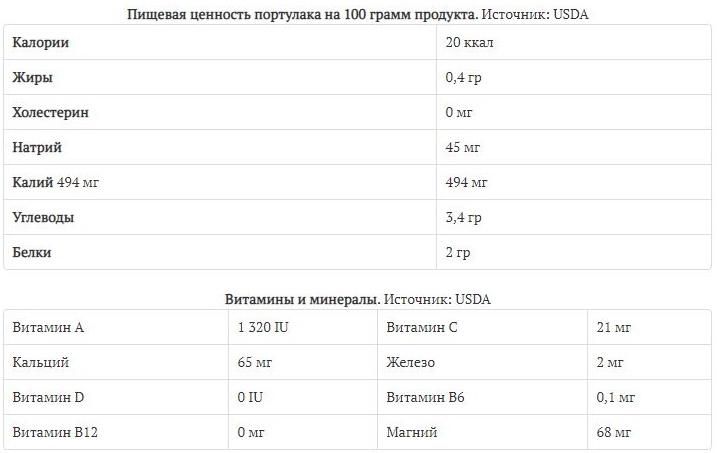 Состав полезных веществ в 100 граммах листьев портулака