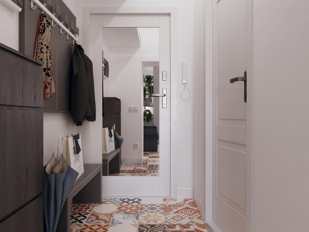 Мебель в современной прихожей с зеркалом на двери