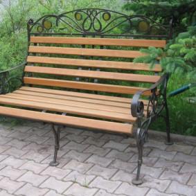 современная садовая скамейка фото оформления