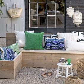 современная садовая скамейка дизайн фото