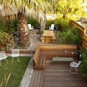 современная садовая скамейка декор фото