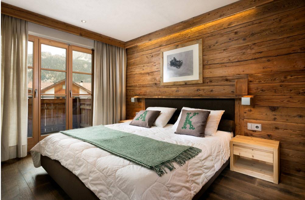 отделка деревом в спальне