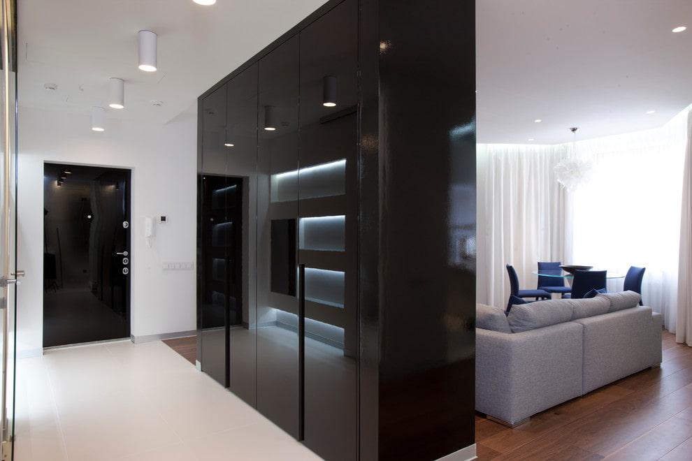 Черный шкаф в прихожей современного стиля