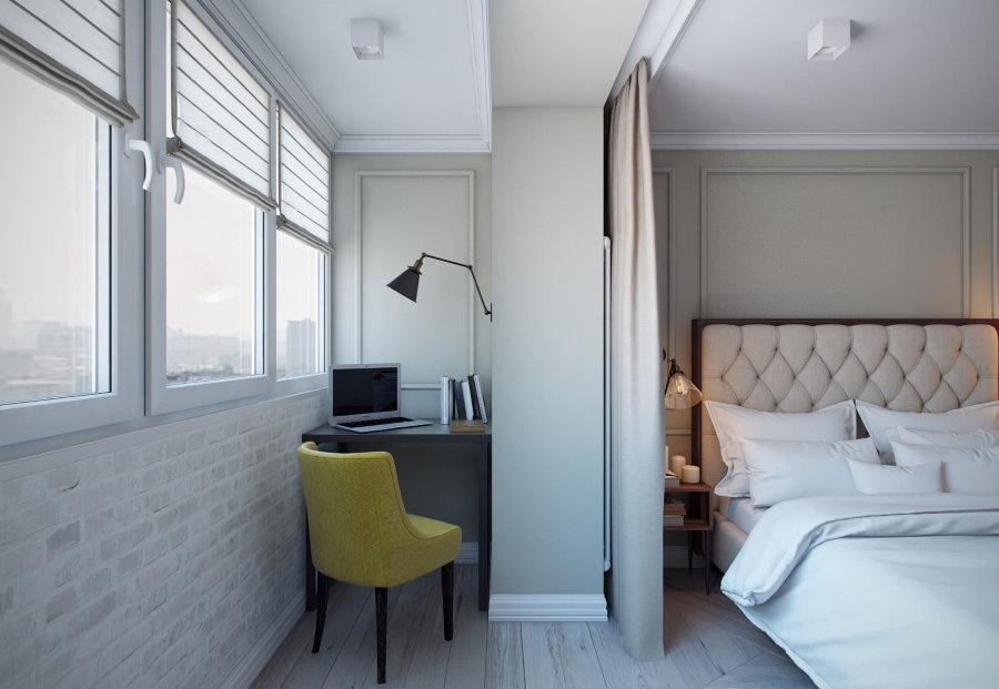 Рабочий кабинет в спальне после присоединения балкона