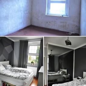 Комната родителей до ремонта и после отделки