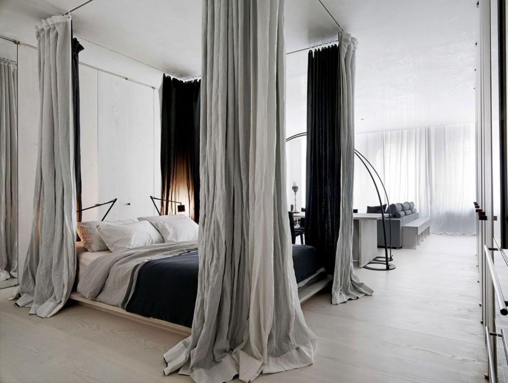 Зонирование шторами комнаты в стиле лофта