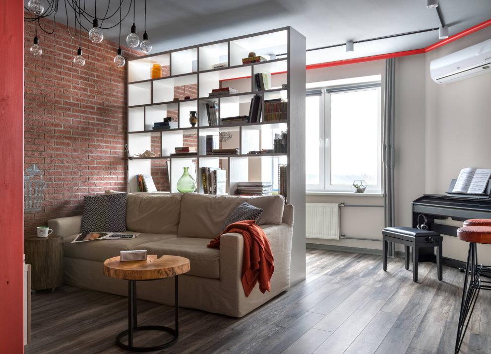 Зонирование стеллажом комнаты в квартире