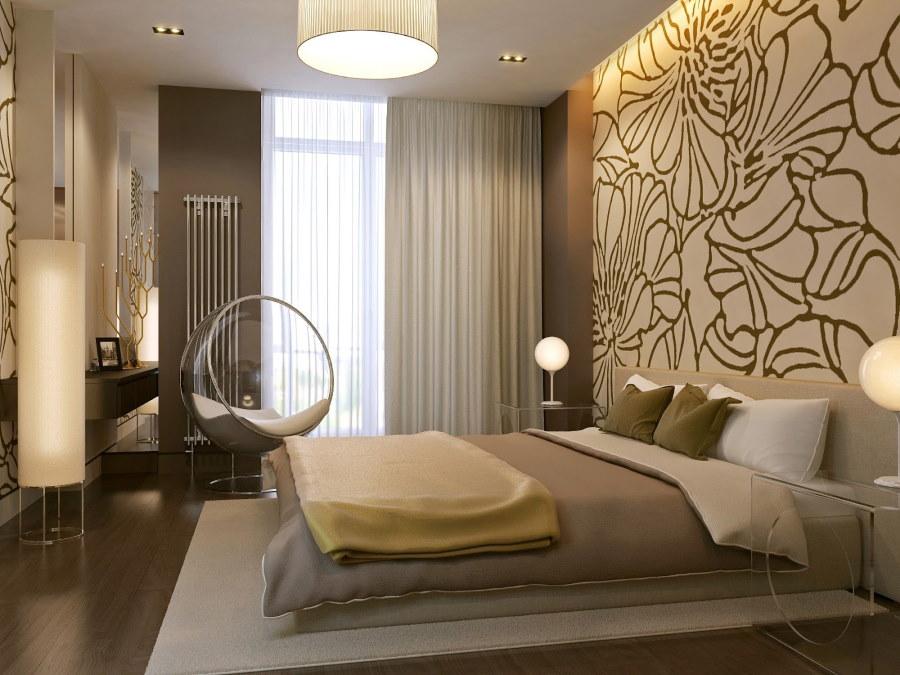 Современная спальня с коричневым полом