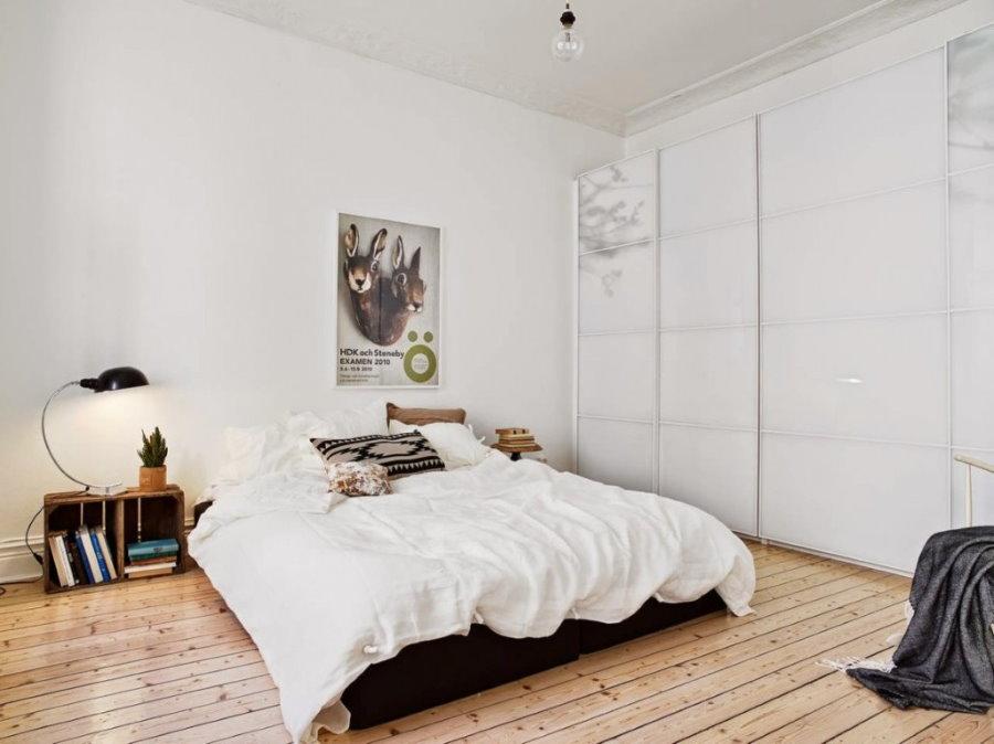 Интерьер спальни без окна в стиле сканди