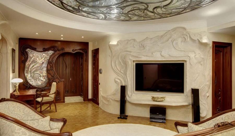 Телевизор в интерьере гостиной стиля модерн