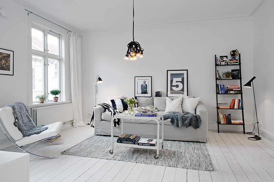 Освещение белого зала в скандинавском стиле