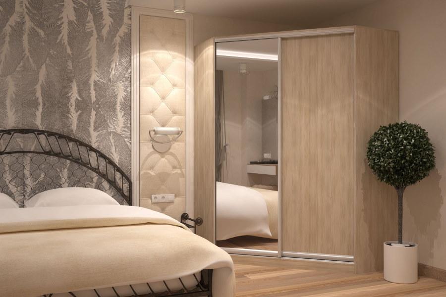 Гардеробная трапециевидной формы с зеркалом на двери
