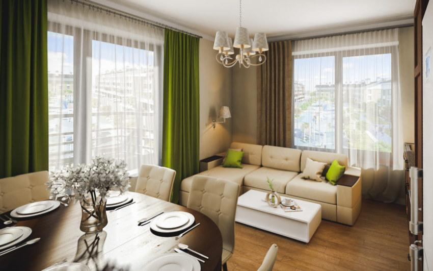 Угловой диван в гостиной-столовой с двумя окнами