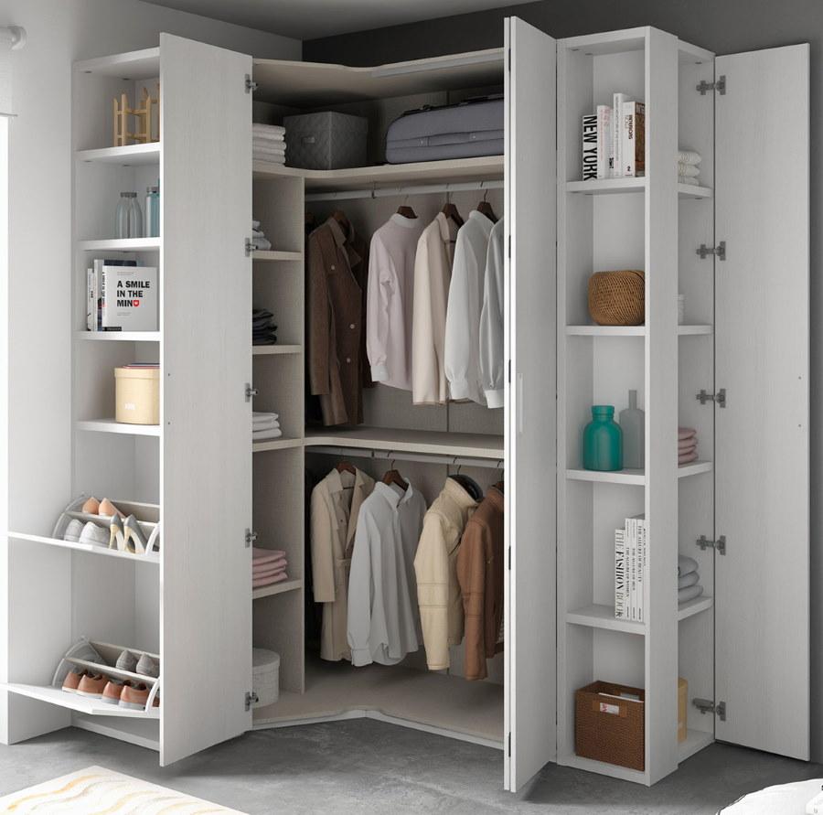 Угловой шкаф гардероб с распашными створками