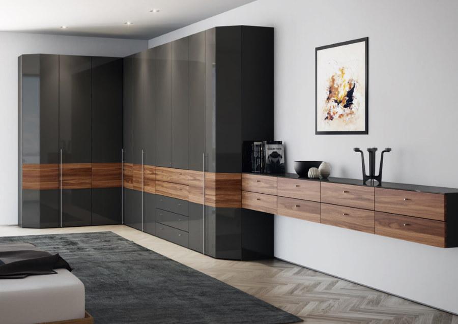 Угловой шкаф для спальной комнаты в стиле модерн