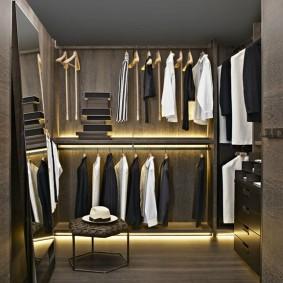 узкая длинная гардеробная идеи декор