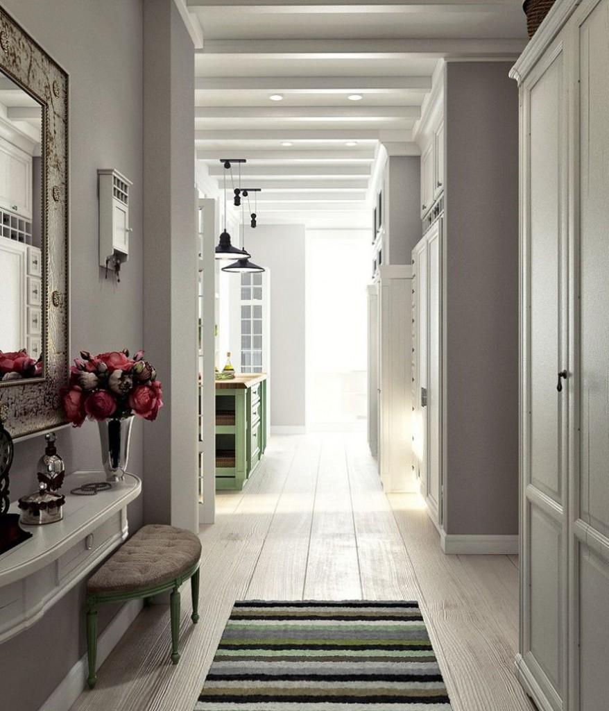 Деревянный пол в коридоре прованского стиля