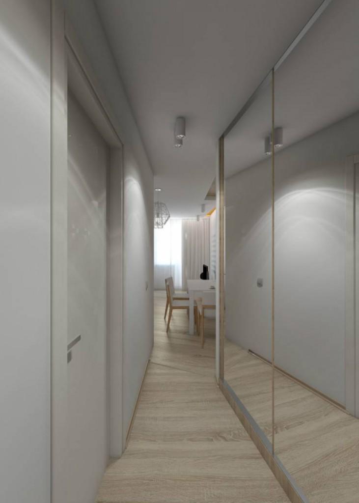 Зеркальный шкаф от пола до потолка прихожей