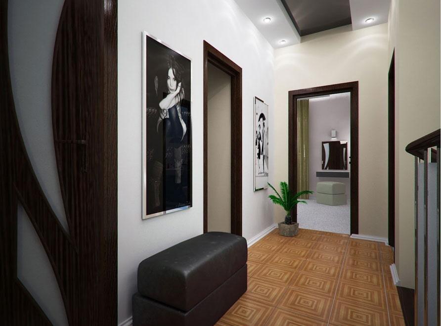 Узкая картина на стене коридора между дверями