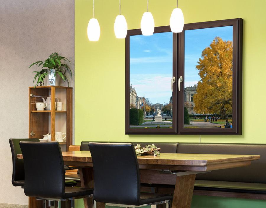 Виртуальное окно в обеденной зоне гостиной