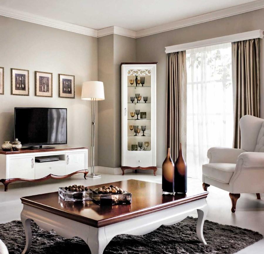 Интерьер гостиной комнаты с витриной в углу