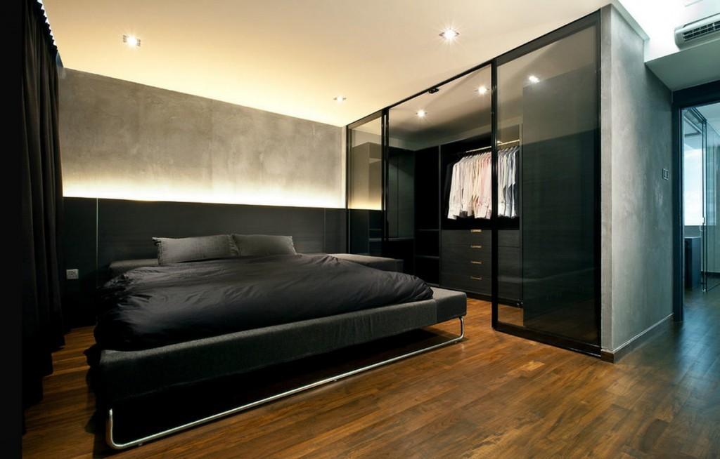 Мужской шкаф-гардероб в спальной комнате